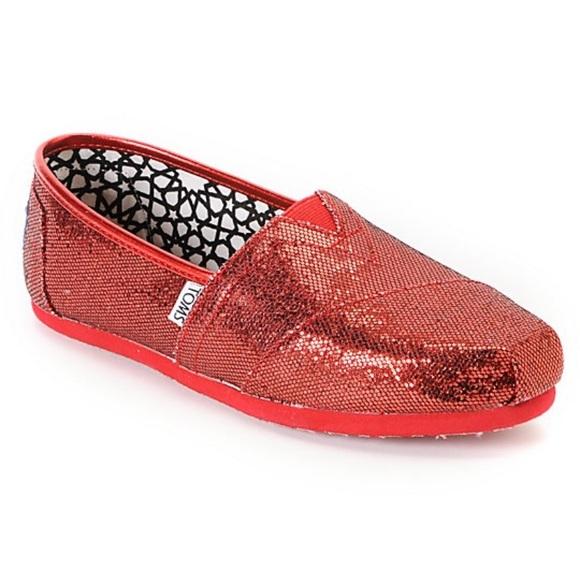 1194c8ac9ba Toms Classics Red Glitter Womens Shoes. M 5c5e34f59fe486777bec369c